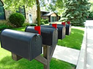 A row of mailboxes.