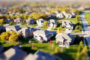 A neighborhood aerial view.