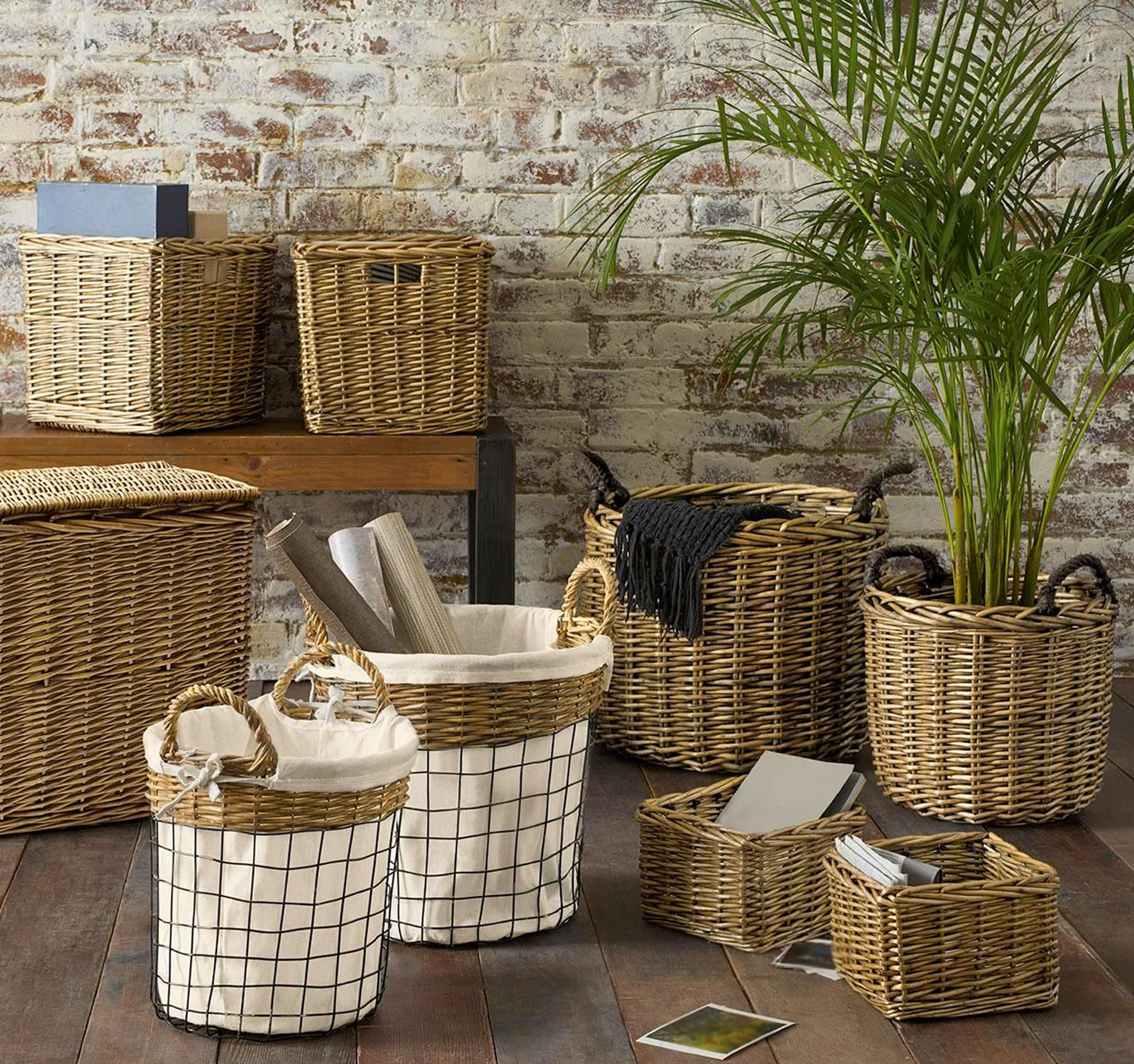 Storage baskets and shelves for organizing