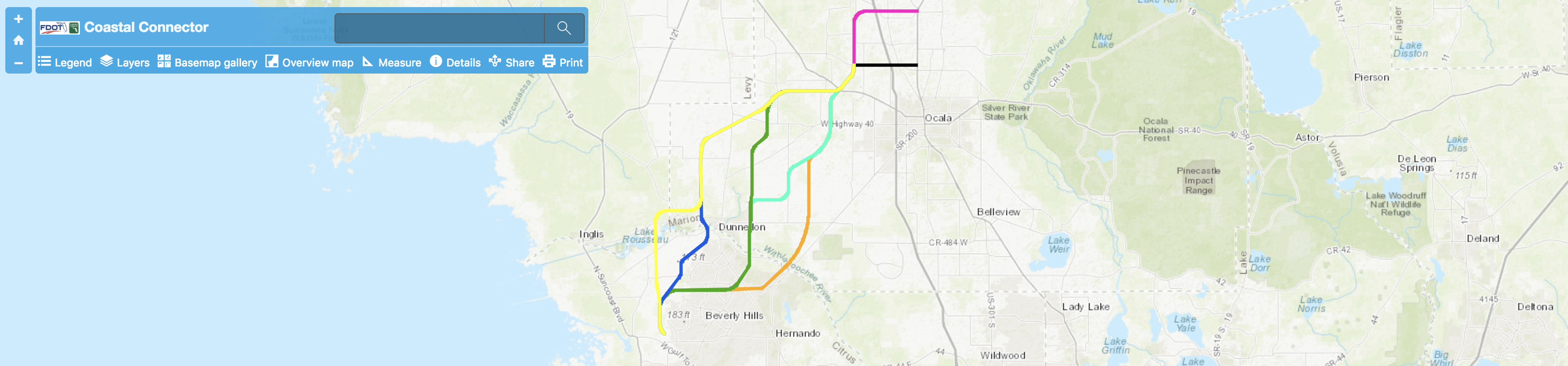 A map of turnpike connections.