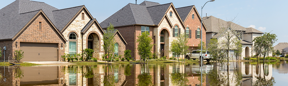 A row of flooded homes.