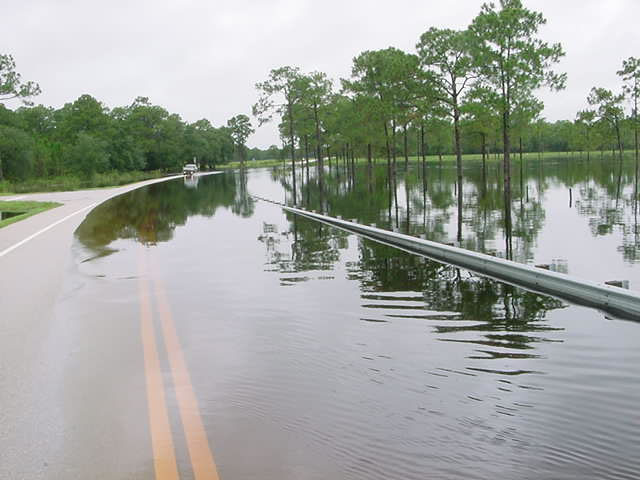 A flooded road