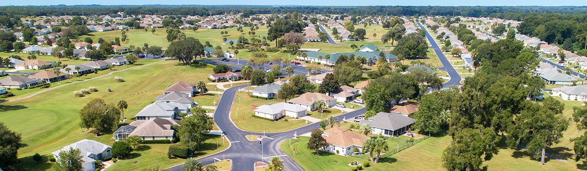 An aerial view of the community of Ocala Palms