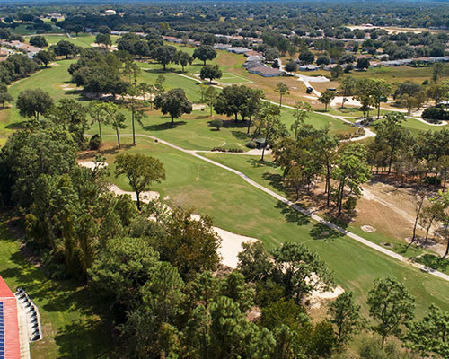 An aerial view of the golf course at On Top of the World