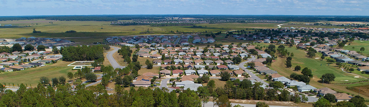 An aerial view of the community of On Top of the World