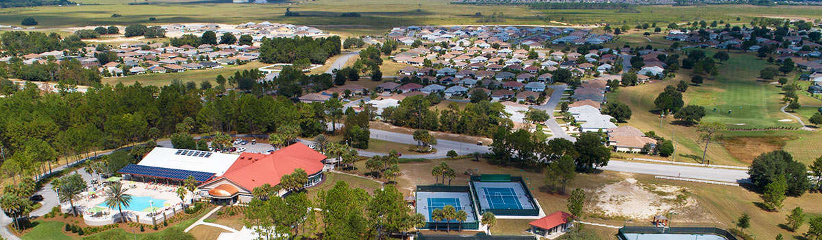 An aerial view of the clubhouse at On Top of the World