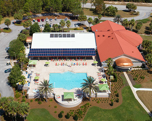 An aerial view of the pool at On Top of the World
