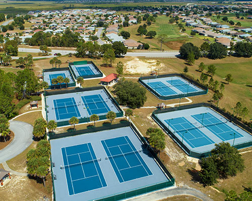 An aerial view of the tennis courts at On Top of the World