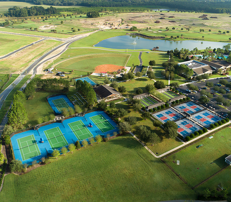 An aerial view of  the 55+ community of Stone Creek