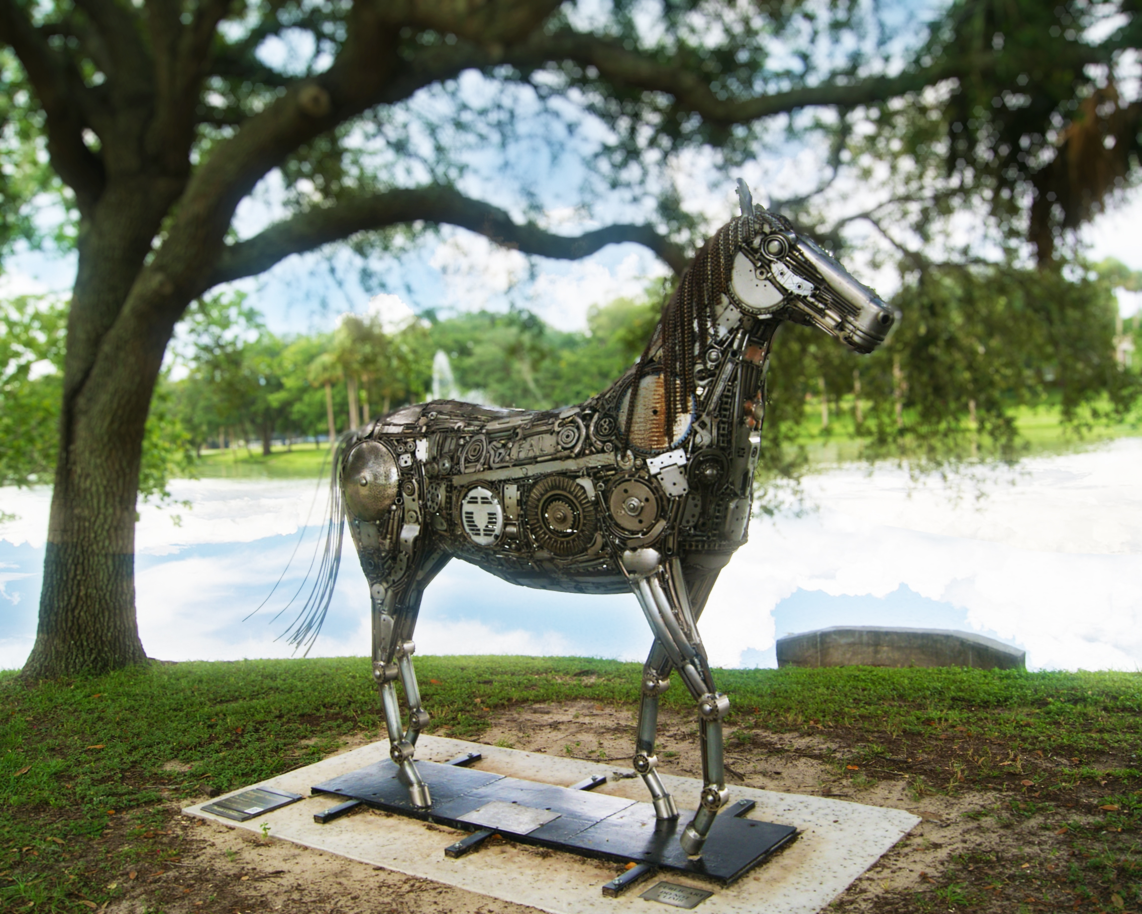 A horse sculpture in Tuscawilla Park