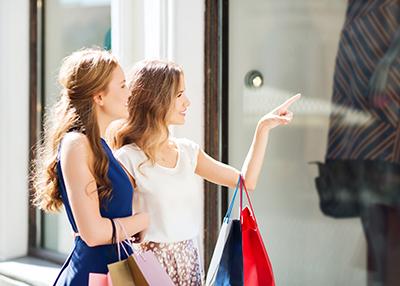 Women window shopping.