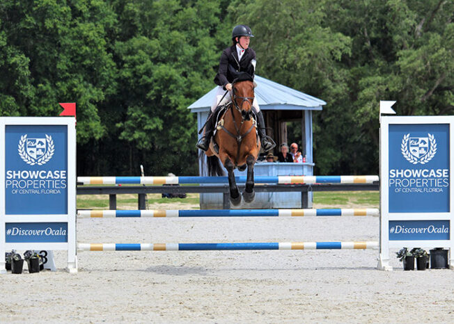A rider jumping her horse over the Showcase Jump at Florida Horse Park.