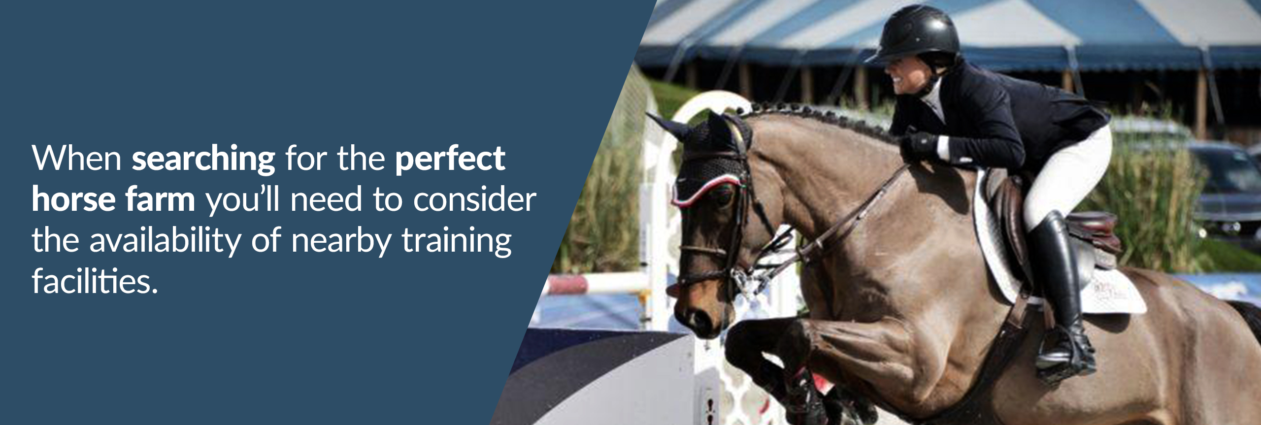 When searching for the perfect horse farm you will need to consider availability to nearby training facilities.