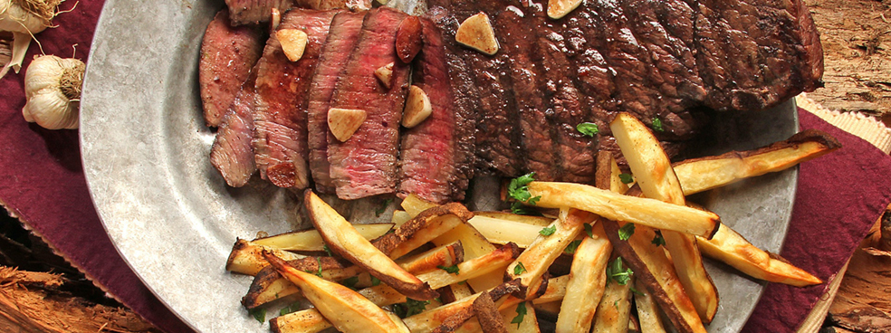 A big platter of steak and fries