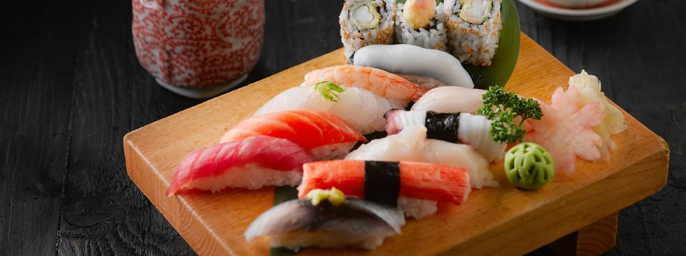 An assortment of sushi.