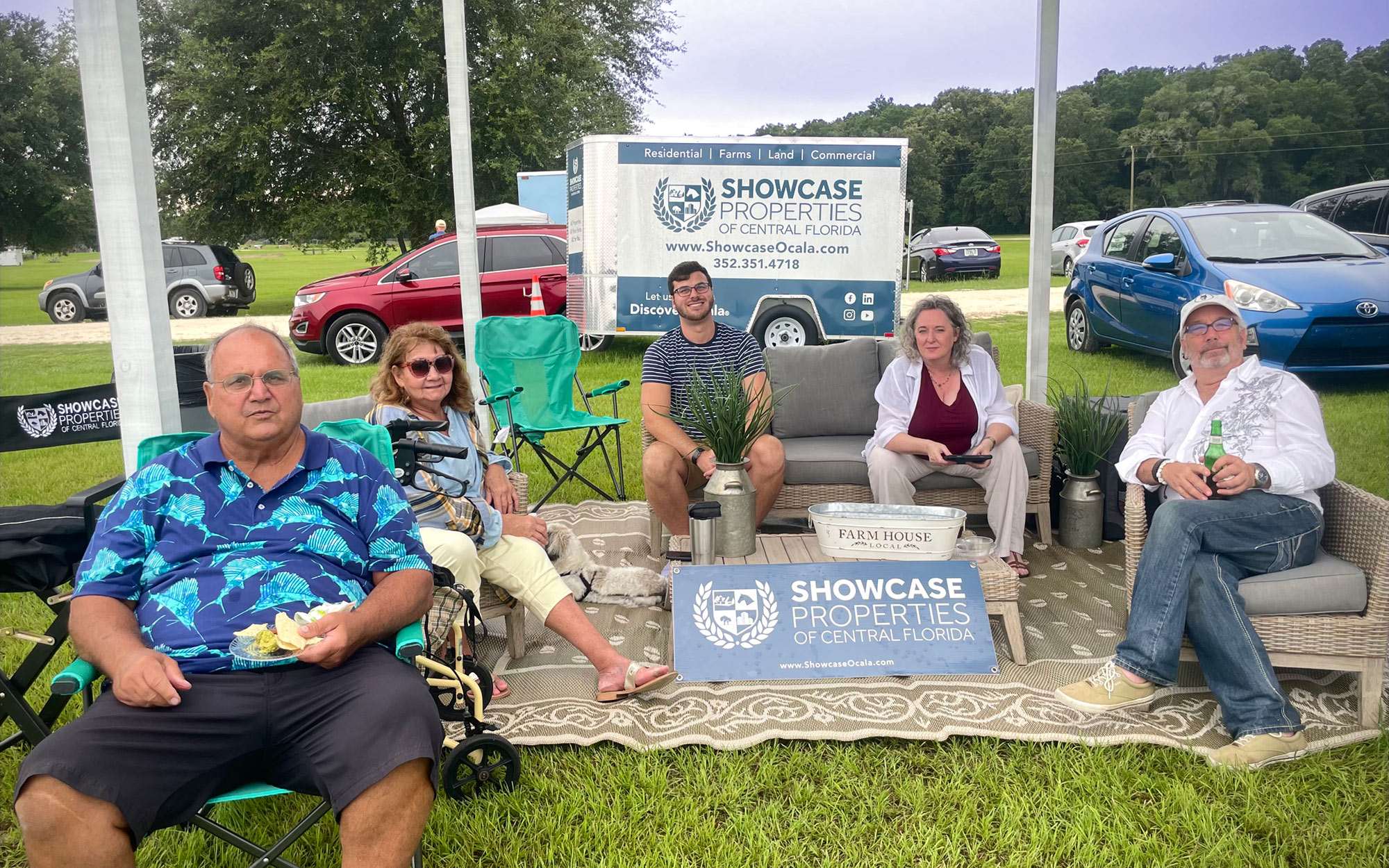 Showcase Team spectators watching Chris play polo at the Florida Horse Park.