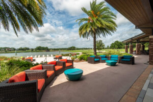 Shady resort style seating at Ocala Preserve.