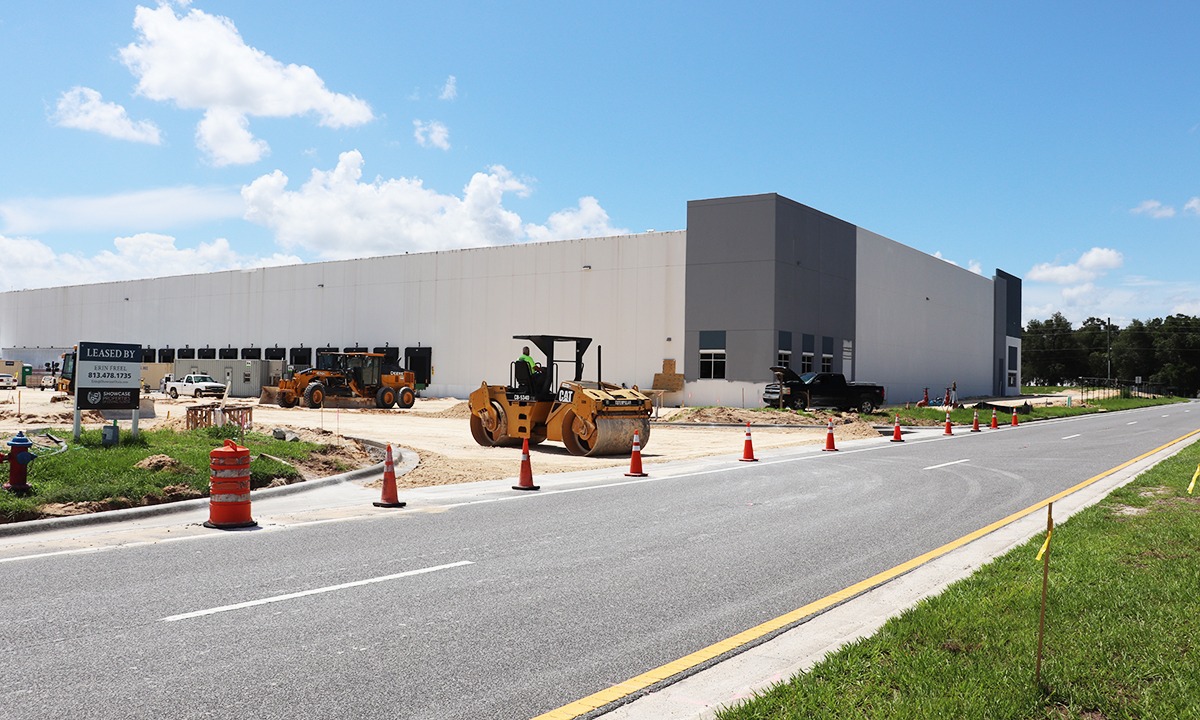 Construction equipment at work on the new Signature Brands warehouse site.