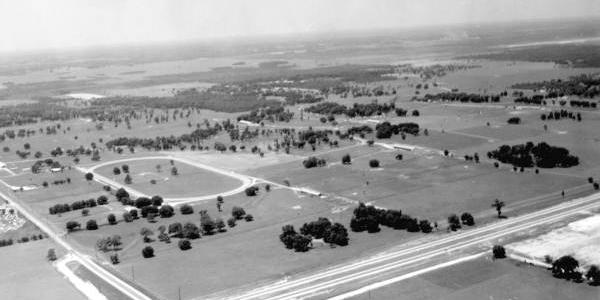 Tartan Farms and Bonnie Heath Farm circa 1965. The track shown is the Tartan Farms training track.