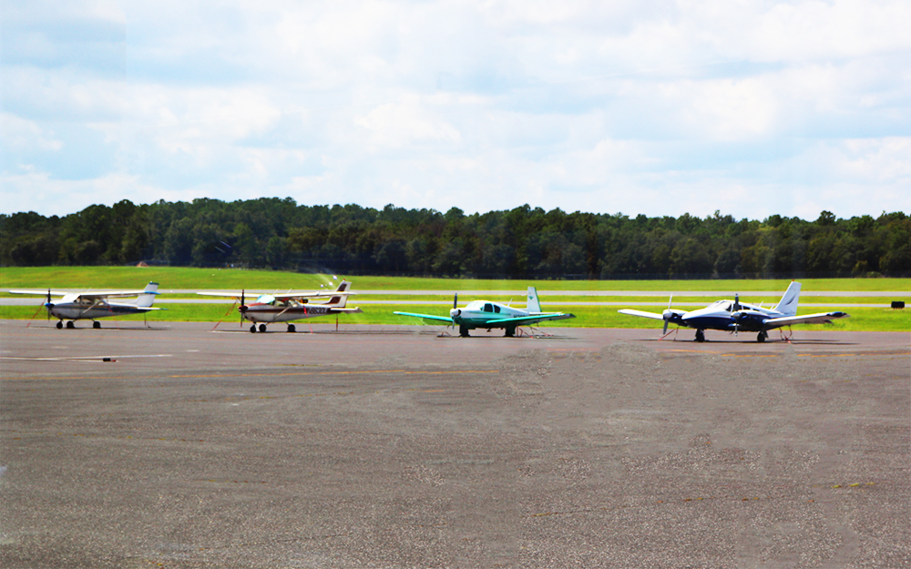 A row of small planes.
